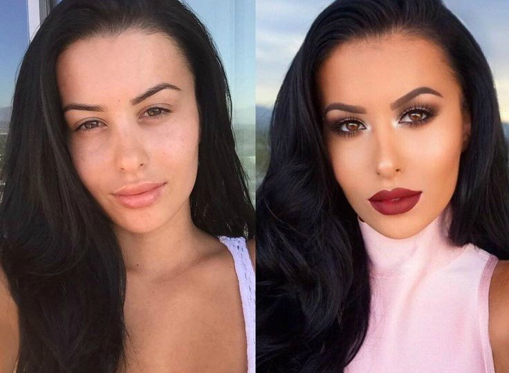 A woman showing the power of makeup