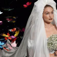 Gigi Hadid in A Bridal Dress in Moschino's 2019 Runway Show