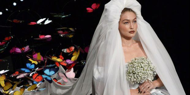 Gigi Hadid Wore A Bridal Dress in Moschino's 2019 Runway Show