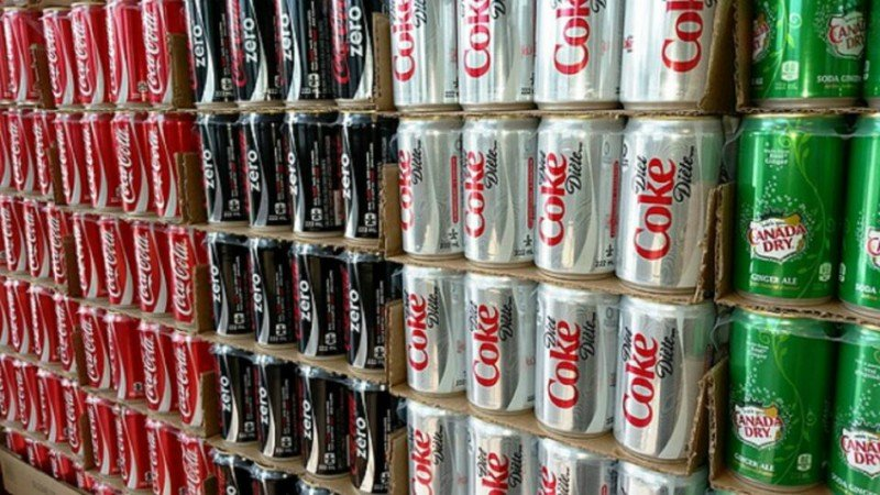 Different cans of soda